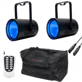 2 x COB Cannon Wash and controller + bag Bundle Stage wash pack.
