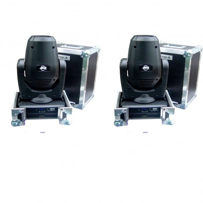 American DJ 2 X Focus Spot THREE Z Professional LED Moving Heads & Cases Bundle