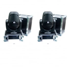 2 X Focus Spot THREE Z Professional LED Moving Heads & Cases Bundle