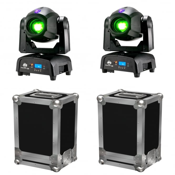 American DJ 2 x Focus Spot TWO 75W LED Moving Heads & Cases Bundle