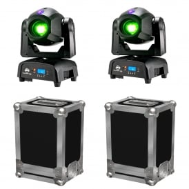 2 x Focus Spot TWO 75W LED Moving Heads & Cases Bundle