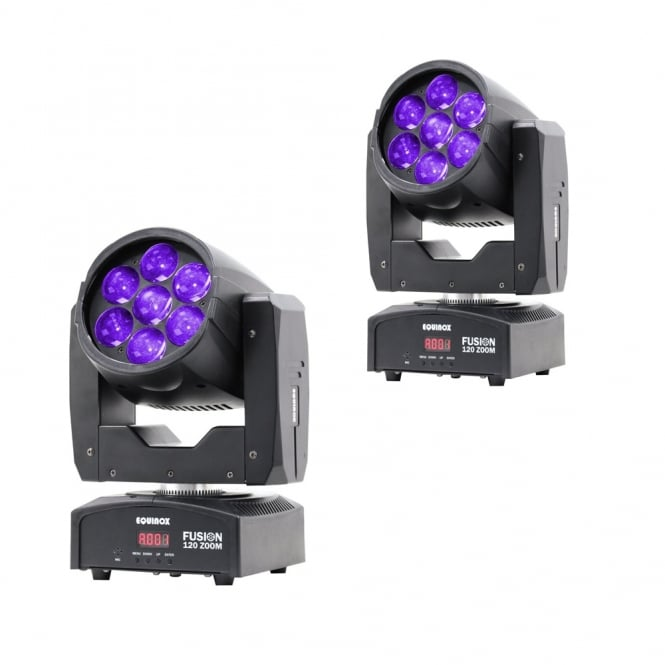 Equinox 2 x Fusion 120 Zoom wash moving head effect Pair bundle