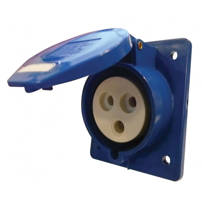 Phase One 230 V Blue 32 A 3 Contact High Current Angled Outlet Panel Mount