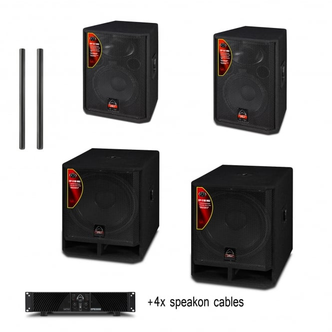 Wharfedale Pro 2x EVP-X18B MKII + 2x EVP-X12 MKII + CDP3600 AMP (poles and cables inc) bundle