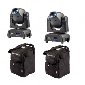 2x Focus Spot ONE Professional LED Moving Heads & Bags Bundle