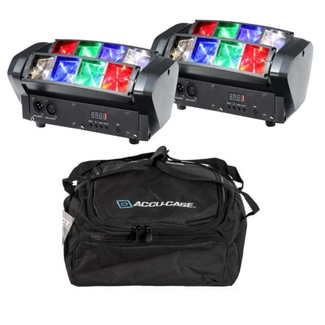 Equinox 2x Onyx LED DMX RGB sweeping Beam Effect and bag Bundle