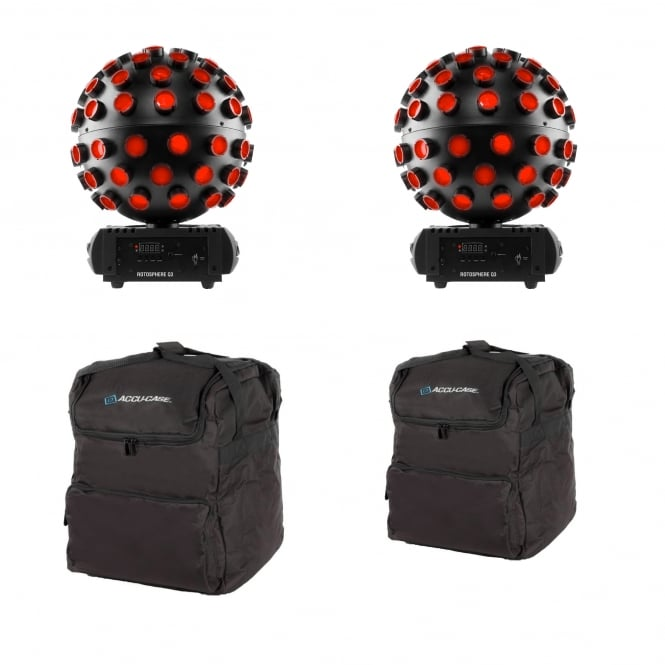 Chauvet 2x Rotosphere Q3 Mirror ball simulator with quad-color LEDs and BAGS Bundle