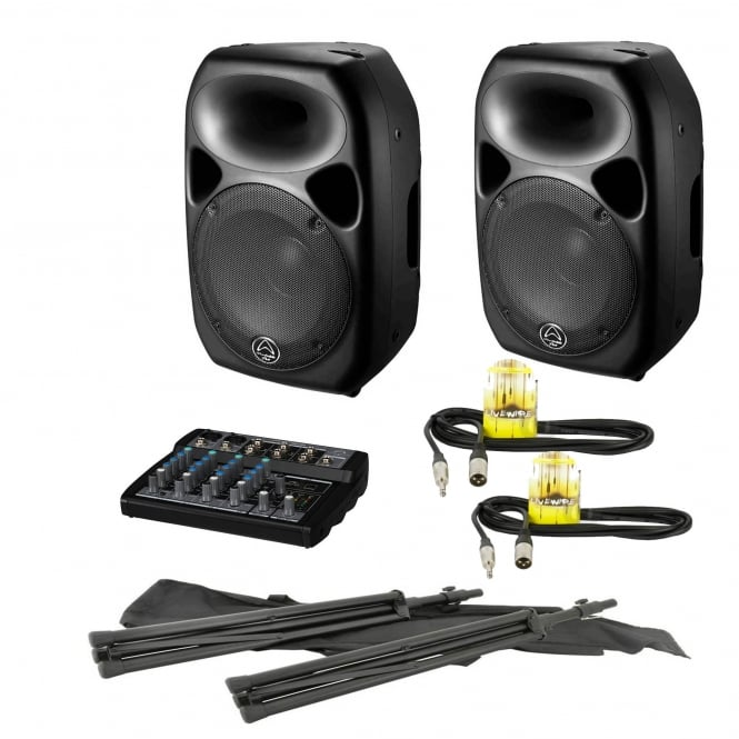 Wharfedale Pro 2x Titan 12D Qubit™ 600W Digital Active Speaker & Mixer / Stands PA Package Bundle
