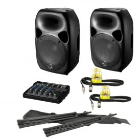 2x Titan 12D Qubit™ 600W Digital Active Speaker & Mixer / Stands PA Package Bundle