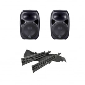 2x Titan 12D Qubit™ 600W Digital Active Speakers and stands Bundle