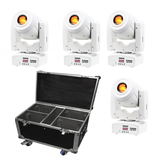 Equinox 4 x Fusion 100 Spot (White Housing) & flight case Bundle