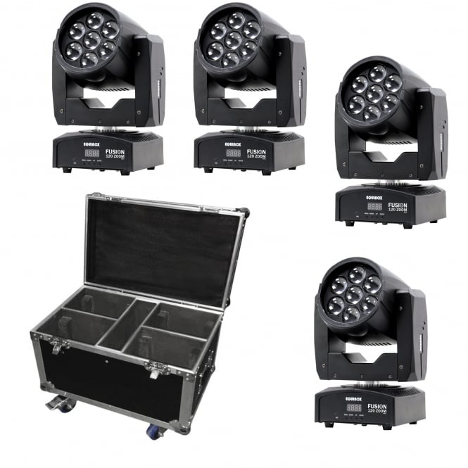Equinox 4 x Fusion 120 Zoom MKII moving wash heads & Flight Case Bundle