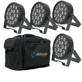 4 x PAR56 HIGH POWER 3-in-1 LED PLASTIC PAR CANs & Bag Bundle