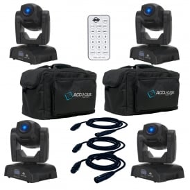 4 x Pocket Pro LED Intelligent Moving Heads & Bags+cables+uc-ir Bundle