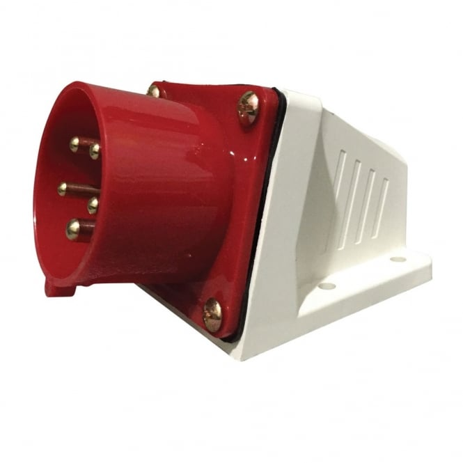 Phase One 415 V Red 32 A 5 Contact High Current Angled Inlet Wall Mount