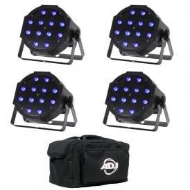 4x MaxiPar Tri LED Uplighter & Stage Par Plus Bag Bundle