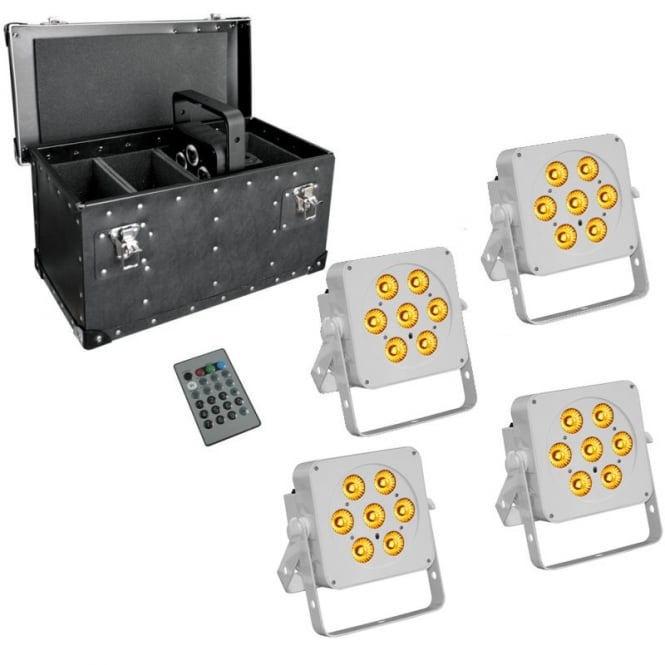 LEDJ 7Q5 RGBA LED uplighter white housing with case package deal