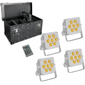 7Q5 RGBA LED uplighter white housing with case package deal
