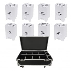 8x Rapid QB1 (White Housing)portable battery powered uplighters and charging case Bundle