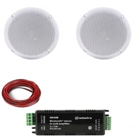 Adastra In-wall / Ceiling Bluetooth® Amplifier with 2x Water Resistant Ceiling speakers Bundle