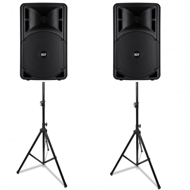 RCF Professional Audio ART 312-A MK III ACTIVE TWO-WAY SPEAKER'S & SPEAKER STANDS PAIR Bundle