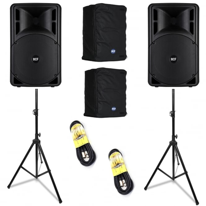 RCF Professional Audio ART 312-A MK III ACTIVE TWO-WAY SPEAKER'S WITH STANDS AND COVERS & LEADS Bundle