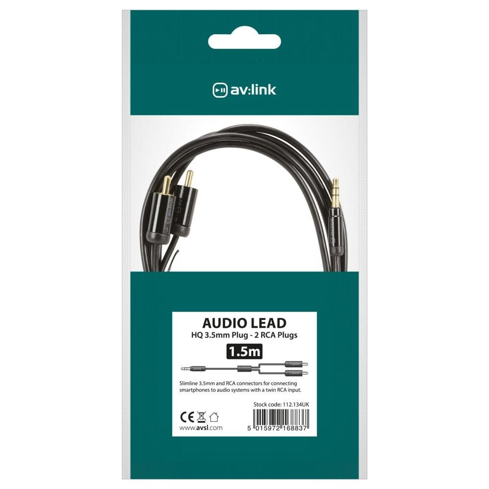 av:Link av:Link Precision 3.5mm Stereo Jack Plug to 2 x RCA Plugs ...