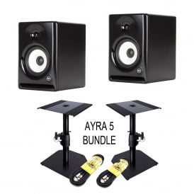 AYRA 5 ACTIVE TWO-WAY PROFESSIONAL MONITORS & stands and cables Bundle
