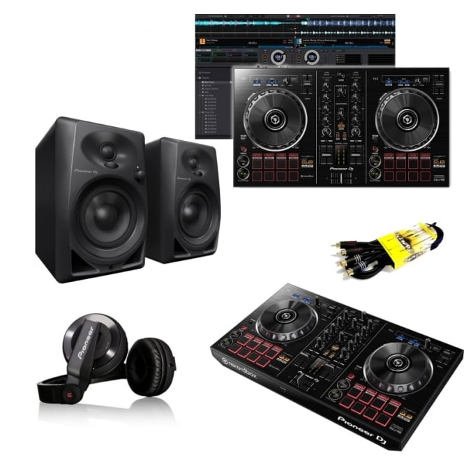 Pioneer DJ Beginner Bundle inc DDJ-RB DJ Controller with Full Rekordbox DJ Software|headphones|speakers Bundle