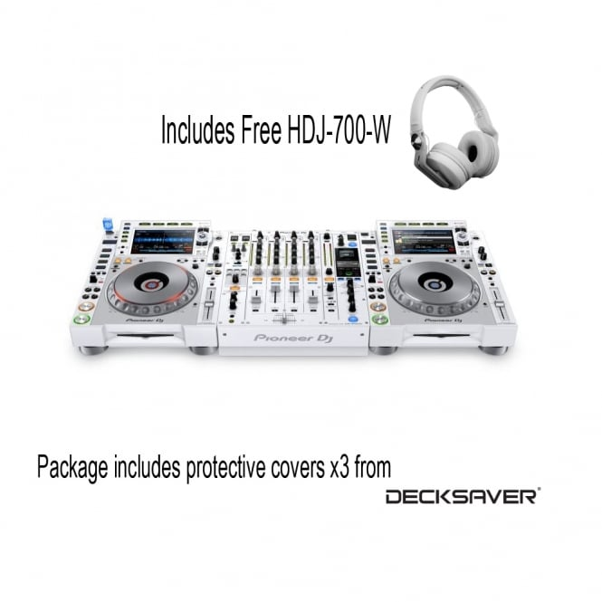 Pioneer DJ CDJ-2000 NXS2 & DJM-900 NXS2 White Limited Edition Package with FREE DECKSAVERS & HEADPHONES