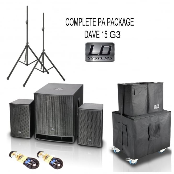 LD Systems DAVE 15 G3 Complete PA System Bundle inc bags/cables/stands & skate