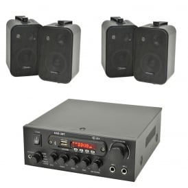 Digital stereo amplifier with Bluetooth 4x Speakers & 100 Meters Of Cable Bundle