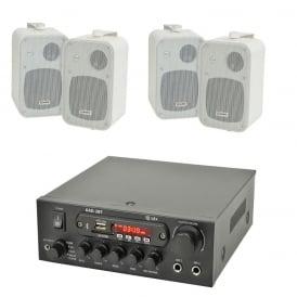 Digital stereo amplifier with Bluetooth® 4x Speakers & 100 Meters Of Cable Bundle