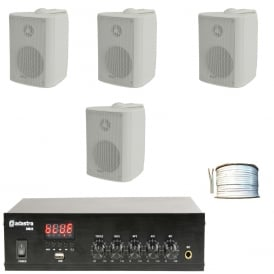 DM25 Mixer-Amp with 4x White Speakers & 100 Meters of cable Bundle