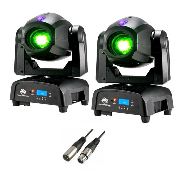American DJ Focus Spot TWO 75W LED Moving Head PAIR & 3M DMX Cable