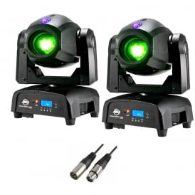 Focus Spot TWO 75W LED Moving Head PAIR & 3M DMX Cable