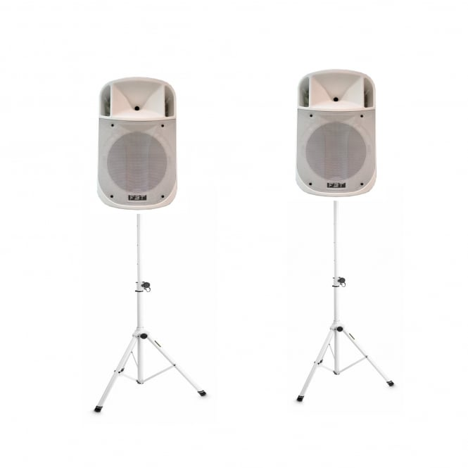 FBT J 12A Processed Active PA speaker 350W+ 100W RMS WHITE VERSION & WHITE STANDS Bundle