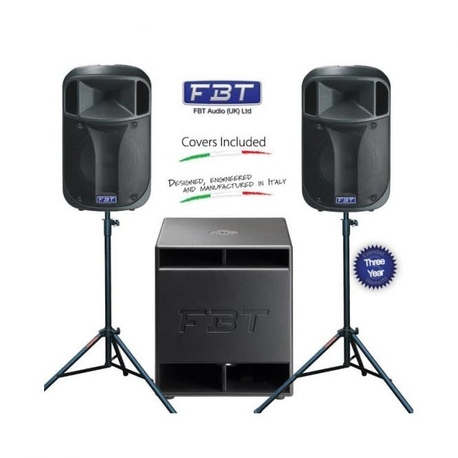 FBT J12A and SUBLINE 15SA PA with stands and covers Bundle