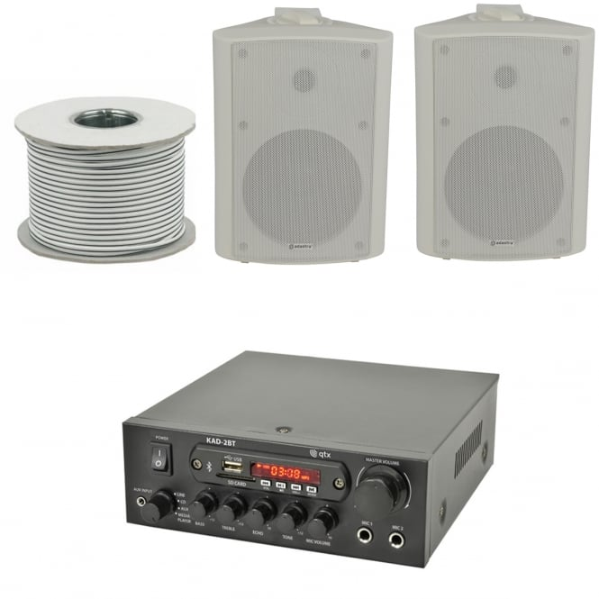 QTX KAD-2BT Outdoor PA System with Bluetooth® 2x White Speakers & 100 Meter Cable Bundle