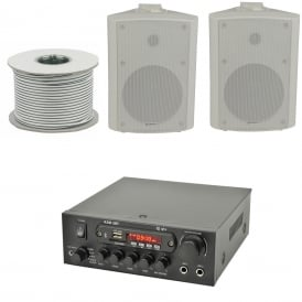 KAD-2BT Outdoor PA System with Bluetooth® 2x White Speakers & 100 Meter Cable Bundle