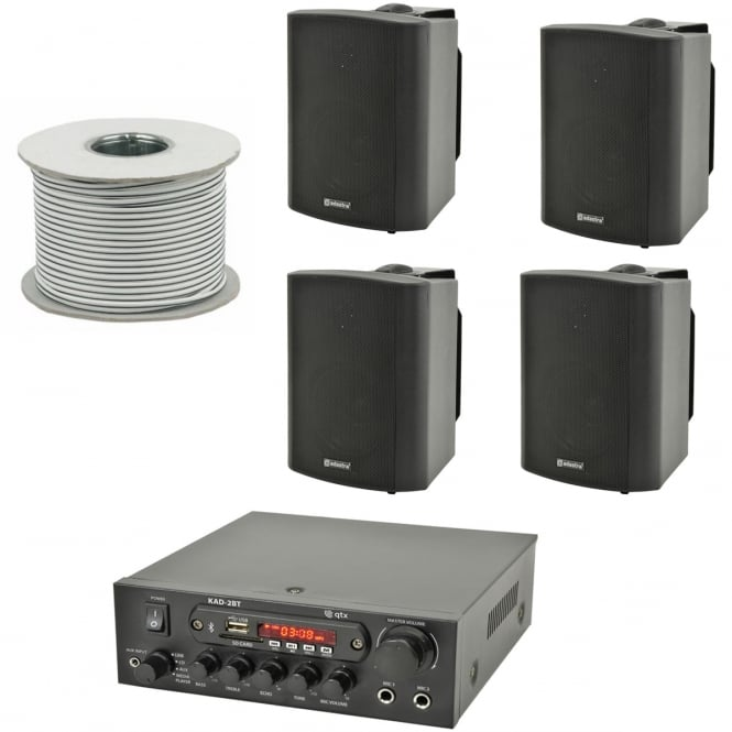 QTX KAD-2BT Outdoor PA System with Bluetooth® 4x Black Speakers & 100 Meter Cable Bundle