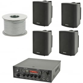 KAD-2BT Outdoor PA System with Bluetooth® 4x Black Speakers & 100 Meter Cable Bundle