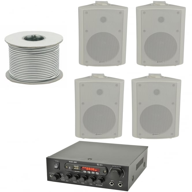 QTX KAD-2BT Outdoor PA System with Bluetooth® 4x White Speakers & 100 Meter Cable Bundle