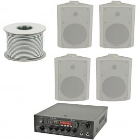 KAD-2BT Outdoor PA System with Bluetooth® 4x White Speakers & 100 Meter Cable Bundle