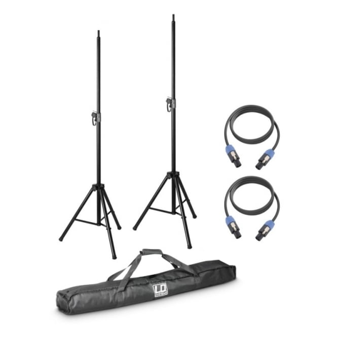 LD Systems DAVE 8 SET 2 - 2 x speaker stand with transport bag + 2 x speaker cable 5 m for DAVE 8 systems