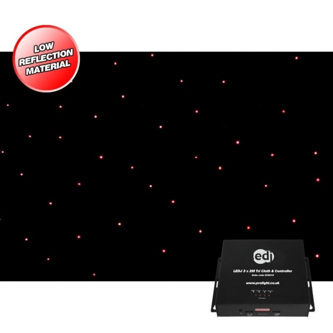 LEDJ 3 X 2M Tri Cloth and Controller surge wool LED star cloth