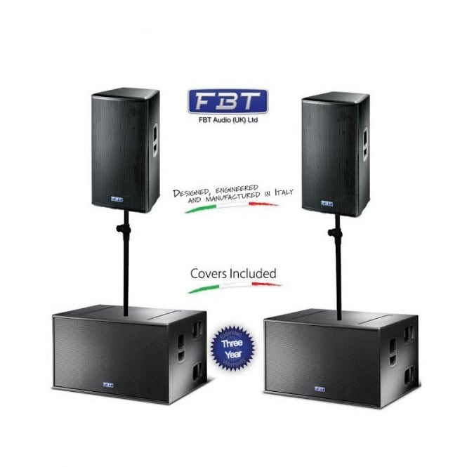 FBT Mitus 152A and Mitus 218SA Bundle 6700 Watt RMS Sound system including poles and covers