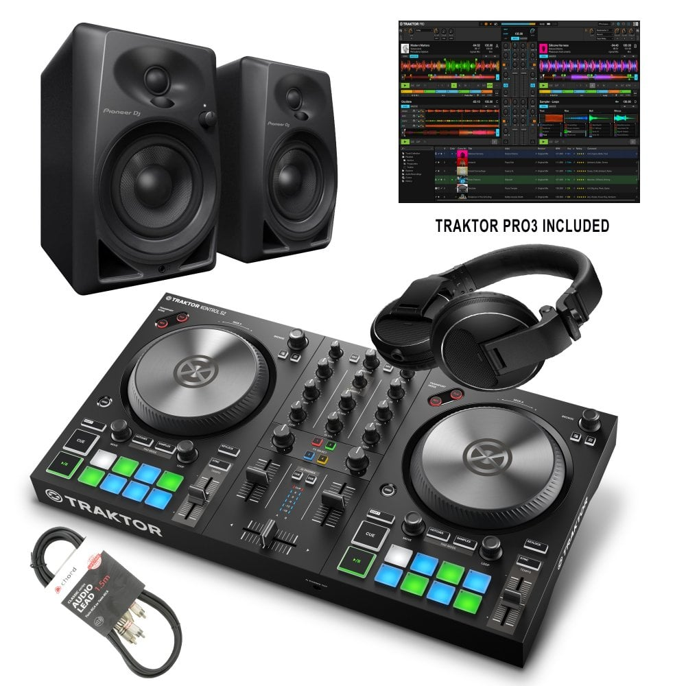 Traktor Kontrol S2 Mk3 DJ Controller with FULL Traktor Pro 3 Software DJ  Starter Kit Bundle