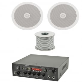 Office / Retail 2 Ceiling Speakers & Amplifier Background music System