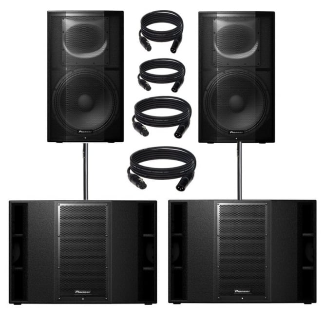 Pioneer DJ Pioneer XPRS-15 & xprs 215 9600W Active PA Speaker with Powersoft Amplification Bundle